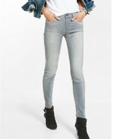 Express mid rise gray super skinny jeans