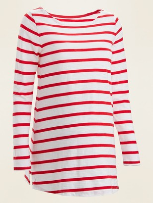 Old Navy Maternity Nautical-Stripe Long-Sleeve Boat-Neck Tee