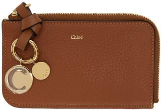 Chloé Brown Alphabet Zip Around Card Holder