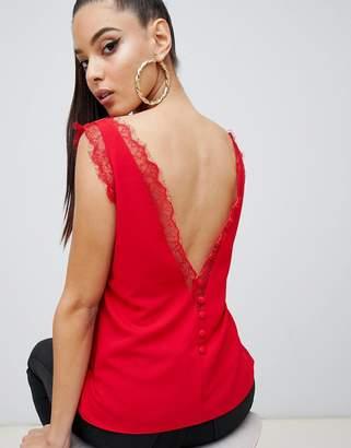 Asos Design DESIGN deep plunge lace insert camisole tank