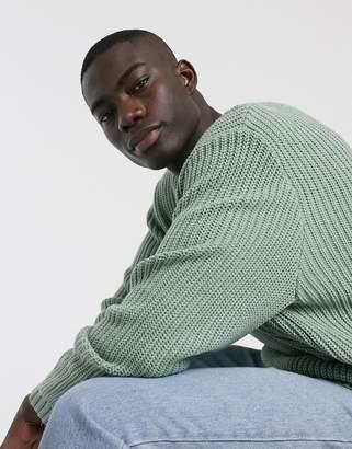 Asos Design DESIGN oversized fisherman rib sweater in light green