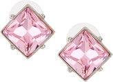 Kenneth Jay Lane Silvertone Square Crystal Stud Earrings, Light Rose