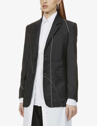 Ester Kubisz Contrast-stitched wool blazer