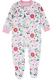 Sara's Prints INFANTS' FLORAL COTTON-BLEND FOOTED COVERALL - WHITE SIZE 18 M