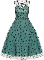 Fanala Retro Women Prom Party Cocktail Dress Green Sleeveless