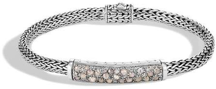 John Hardy Classic Chain Station Bracelet With White And Grey Diamonds