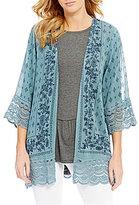 Jolt Floral Printed Lace-Detailed Kimono