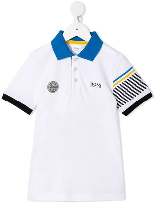 Boss Kids striped-sleeve polo shirt
