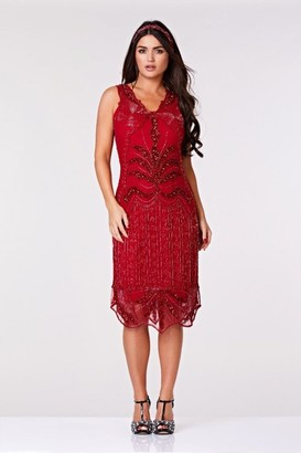 Gatsbylady London Elsa Midi Length Flapper Dress in Red