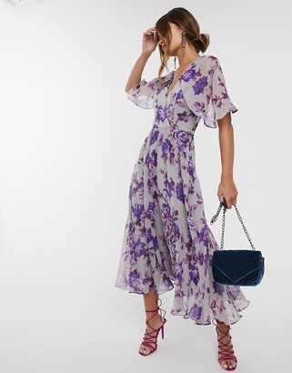 Asos Design DESIGN floral drape sleeve midi dress-Multi