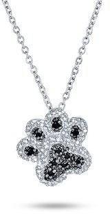 Bling Jewelry Dog Cat Puppy Paw Print BFF Pet Pendant Necklace Black Sterling Silver
