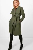 boohoo Maternity Alison Tie Waist Shawl Collar Coat khaki