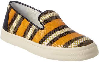 Giuseppe Zanotti Stripe Embossed Leather Slip-On Sneaker