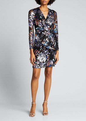 Badgley Mischka Floral Print Sequin Embellished Tulle Dress with Bow