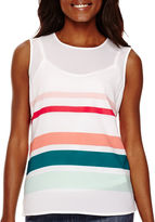 Liz Claiborne Sleeveless Striped Shell Top - Tall