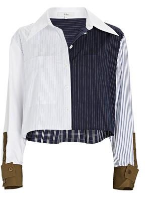 Tibi Cropped Patchwork Button-Down Shirt