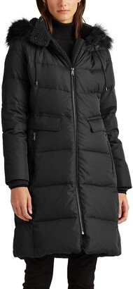 Lauren Ralph Lauren Faux Shearling & Faux Fur Trim Hooded Down Puffer Coat