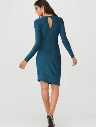 Very Glitter Twisted Jersey Mini Dress - Teal