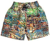 Junior Gaultier Graffiti Printed Nylon Swim Shorts