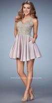 La Femme Applique Embellished Racer Back Homecoming Dress