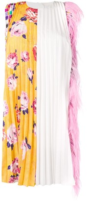 MSGM Crimped Feather Trim Dress