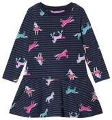 Joules Navy Sea Pony Print Jersey Trapeze Skirt Dress