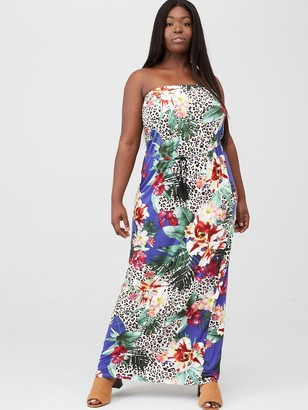 V By Very Curve Bandeau Jersey Maxi Dress - Blue Floral Animal