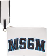 MSGM White Wristlet Logo Zip Pouch