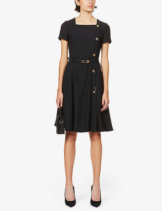 Versace Wrap-over crepe midi dress