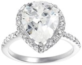 Journee Collection Tressa Collection Pear Cut Cubic Zirconia Pave Engagement Ring in Sterling Silver