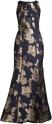 Aidan Mattox Floral Jacquard Side Slit Mermaid Gown