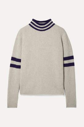 The Elder Statesman Odyssey Striped Ribbed Cashmere Turtleneck Sweater - Beige
