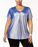 NY Collection Plus Size Pleated Metallic Top
