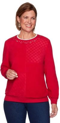 Alfred Dunner Petite Spliced Diamond Anti-Pill Crewneck Sweatshirt