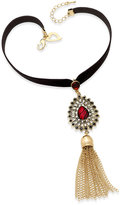 Thalia Sodi Gold-Tone Velvet Tassel Choker Necklace, Only at Macy's