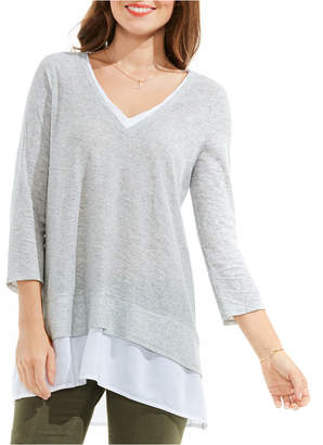 Vince Camuto Petite Layered-Look Mixed-Media Top