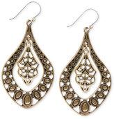 Lucky Brand Earrings, Gold-Tone Filigree Oblong Earrings