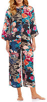 N by Natori Dreamy Floral Satin Cropped Pajamas
