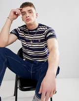 Fila Vintage Terry Towelling Stripe T-Shirt In Navy