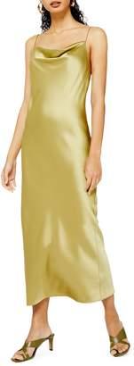 Topshop TALL Satin Cowl Neck Midi Slip Dress