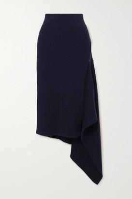 Monse Asymmetric Ribbed Merino Wool Skirt - Midnight blue