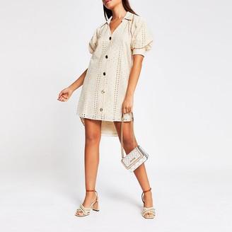 River Island Cream short sleeve broderie shirt mini dress