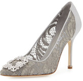 Manolo Blahnik Hangisi Satin & Lace 105mm Pump, Pewter