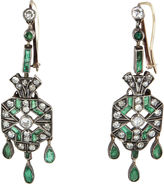 One Kings Lane Vintage Art Deco Diamond & Emerald Earrings