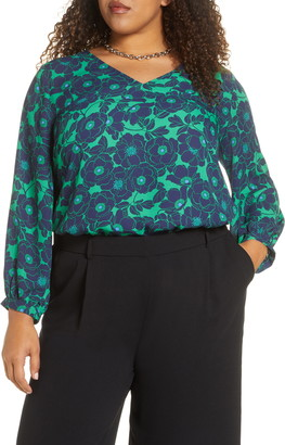 Halogen Floral V-Neck Blouse