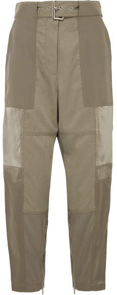 3.1 Phillip Lim Paneled Silk-satin, Washed-silk And Twill Tapered Pants - Green