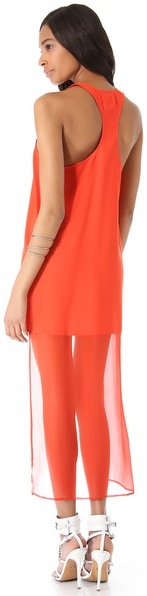 Line & Dot Sheer Tail Dress