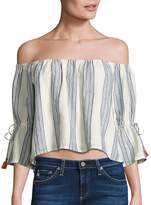 Tularosa Women's Alexa Striped Off-The-Shoulder Bell Sleeves Cropped Top