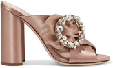 Miu Miu Embellished Satin Mules - Blush