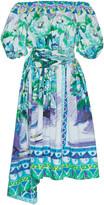 Prada Flower Pot Print Cotton-Poplin Off-Shoulder Dress